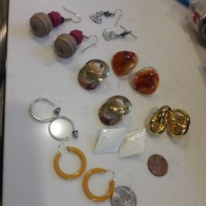 8 pairs of vintage pierced earrings